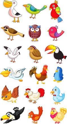 Cute cartoon birds bird vector material