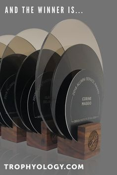 Invite your honorees into the Circle of Excellence with Speculo Circula. This customized mixed media acrylic and wood award design reflects a high level of honor and achievement. Carefully crafted with two-toned acrylic, anodized aluminum and solid walnut, award Circula delights and shines as beautiful as your honorees. Trophy Display, Self Image, Client Gifts, Workspace Design, Industrial Office, Wood Species, Geometric Shapes, In This Moment, High Level
