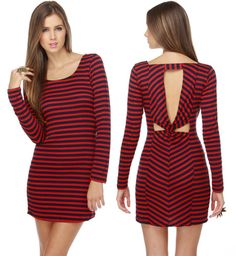 LuLu*s Stripe for the Picking Navy Blue and Red Dress