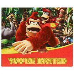 Donkey Kong Invitations (8): Birthday