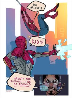 Spiderman - Iron Man comic we all need it Marvel Dc Comics, Marvel Avengers, Funny Marvel Memes, Dc Memes, Marvel Jokes, Marvel Heroes, Captain Marvel, Captain America, Avengers Humor