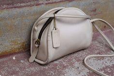 Vintage COACH Purse Ivory White Leather Bag Petite Half Moon Tote Crossbody Bag #Coach #MessengerCrossBody