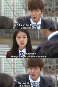 Remember this scene from The Heirs, Minoz fan? Heirs Korean Drama, Korean Drama Funny, Korean Drama Quotes, The Heirs, Korean Dramas, Korean Celebrities, Korean Actors, Lee Min Ho Kdrama, Playful Kiss