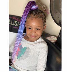 Colorfull braided hairstyle for black hair kids 55 Birthday Hairstyles, Lil Girl Hairstyles, Black Girl Braided Hairstyles, Black Kids Hairstyles, Natural Hairstyles For Kids, African Braids Hairstyles, Little Girl Braids, Black Girl Braids, Braids For Black Hair