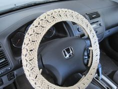 Crochet Steering Wheel Cover, Wheel Cozy - oatmeal (CSWC 2AA)