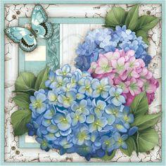 Papel Decoupage Arte Francesa Litoarte AFQ-234 21x21cm Hortênsias - PalacioDaArte Decoupage Vintage, Vintage Paper, Art Floral, Floral Artwork, Vintage Flowers, Vintage Floral, Flower Crafts, Flower Art, Etiquette Vintage