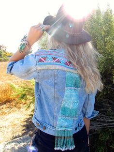 Boho Chic, Vintage Levis Jacket with beaded panels by Coconut Village