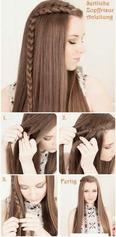 side braid Flechtfrisuren Hair Tutorial would be cute with curls too. Fast easy hair do Easy Hairstyles For School, Step By Step Hairstyles, Hair Styles For Long Hair For School, Easy Hairstyles For Medium Hair For School, Hair Ideas For School, Straight Hairstyles For Long Hair, Side Braids For Long Hair, College Hairstyles, Medium Hair Styles