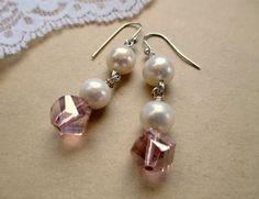 Round Ivory Pearl Pink Crystal Dangle Earrings by IsaLeeDesigns