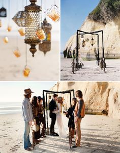 Bohemian props for a beach wedding.