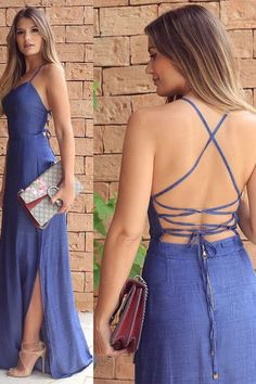 Sheath Blue Spaghetti Straps Criss-Cross Straps Split Floor-length Prom Dress