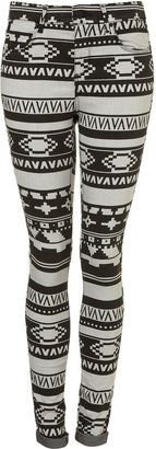 ShopStyle: MOTO Aztec Printed Leigh Jeans