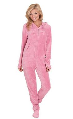 5a0c3f9b34 Pink Womens Hoodie Plush  Pajama  Onesie Footie Pajamas For Adults