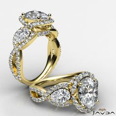 Cross Shank 3 Stone Oval Diamond Engagement Ring GIA F VS2 14k Yellow Gold 2.4 ct