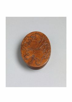Fine Early Griffin Carved Oval Tobacco Box - Solid Boxwood with Burnished Honey Colour, English, c.1700