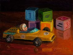 Wang Fine Art: still life old toy car and wood blocks small work ...