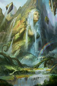 Gaia (also spelled Gaea) is the Greek primordial goddess of the Earth. Fantasy Concept Art, Fantasy Character Design, Fantasy Artwork, Character Art, Fantasy Art Landscapes, Fantasy Landscape, Mythical Creatures Art, Fantasy Creatures, Gaia Goddess