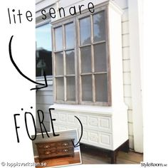 chest of drawers, glass cabinet, before and after, old windows Vintage Windows, Old Windows, Windows And Doors, Repurposed Items, Diy Interior, Home Pictures, Next At Home, Decoration, My House