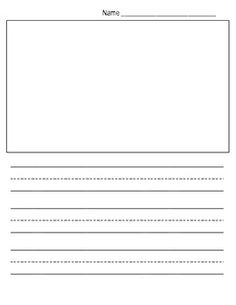 Kindergarten handwriting paper with picture box