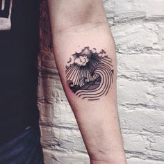 Wavy seas black woodcut illustration style tattoo Roma Severov: