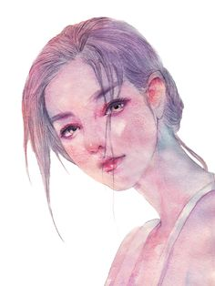 回眸之间-ENOFNO_水彩_涂鸦王国插画
