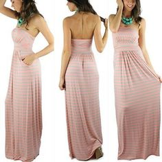 New Chic Peach And Mint Striped Maxi Dress With Side Pockets Size Large