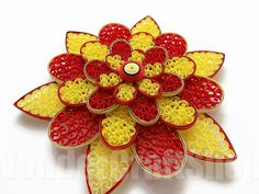 red yellow flower Floral Art Home Decor Wall by WonderCraftShop