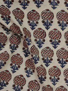 Beige Maroon Indigo Black Hand Block Printed Cotton Fabric Per Meter - F001F893