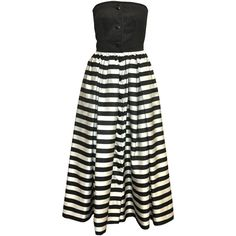 Preowned Valentino Black And White Striped Gown (22,695 DOP) ❤ liked on Polyvore featuring white