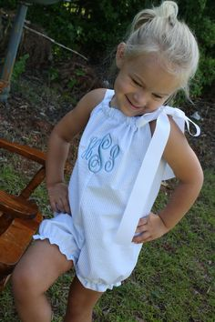Girls bubble pillowcase romper in blue seersucker with monogram. $35.00, via Etsy.