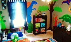 My son's room. Giant dinosaurs! :)