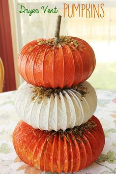 Pumpkin dryer vent craft to make a unique topiary craft for fall, autumn, Halloween or Thanksgiving. Pumpkin dryer vent craft to make a unique topiary craft for fall, autumn, Halloween or Thanksgiving. Easy Fall Crafts, Fun Diy Crafts, Fall Diy, Thanksgiving Crafts, Thanksgiving Decorations, Crafts To Make, Holiday Crafts, Autumn Decorations, Decor Crafts