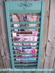 recycler un volet en bois en rangement à magazine