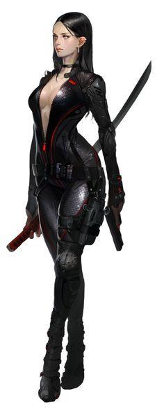 Fighting Girl  (JPEG-Grafik, 771×1920 Pixel Minami's  sister COL female Xokai agent suit