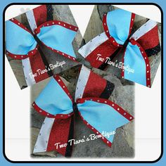 """Light blue glitter tick tocked with white satin spandex,  red glitter, and black sequin on red 3 """" with diamonds by Two Tiara's Bowtique on Etsy or Facebook. Can do other colors.  Contact me for team discounts!  Check out this item in my Etsy shop https://www.etsy.com/listing/218674090/light-blue-glitter-tick-tocked-with"""
