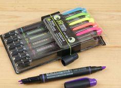 Pincel marca texto  duplo - kit com 6 cores - Basement    presentes criativos, presentes diferentes, presentes originais