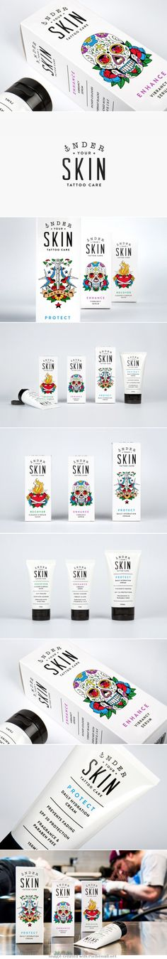 Tattoo care products.  Very cool how the graphic design mimics the appearance of a tattoo.  The white background really makes the image pop!