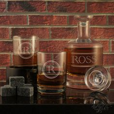 The Gentleman - Design's Deep-Carved Decanter with Designs & OPTIONAL Monogrammed Old Fashioned Tumblers and Engraved Whiskey Stones by DesignstheLimit #TrendingEtsy