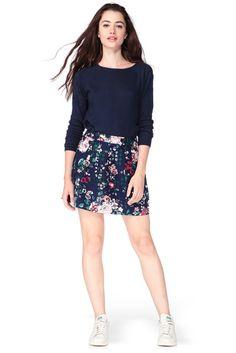 floral navy skirt MonShowroom.com