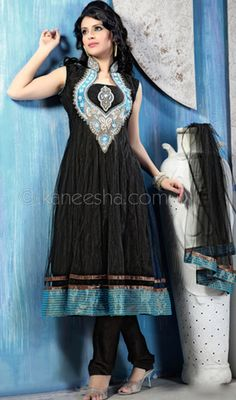 Black Net Chudidar Kameez in Plus Size