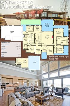 Architectural Designs Prairie Style House Plan 85071MS gives you 4 beds and over 4,800 square feet of heated living space. A 2-story great room is the main attraction inside. A covered outdoor living area in back is great for entertaining. Ready when you are. Where do YOU want to build?