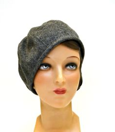 Beret in Gray Wool  1930s Beret  Wool Beret  Size by HatsWithAPast, $65.00