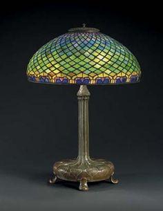 Tiffany Studios Peacock Table Lamp. CIRCA 1910