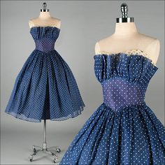 Vintage 1950s Dress Blue Organza White by millstreetvintage, $225.00