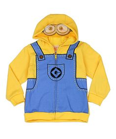 Look what I found on #zulily! Yellow & Blue Minion Mask Hoodie - Toddler #zulilyfinds