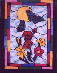 Butterfly Stained Glass Quilted Wall Hanging