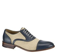 HOLBROOK LINEN CAP TOE - Navy Calfskin/Natural Linen from Johnston & Murphy