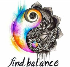 Find balance. Tattoo. Yin yang. Black and white. Rainbow