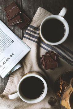 coffee and chocolate :: I LOVE my morning, afternoon and night coffee. sucking on dark chocolate while sipping coffee But First Coffee, I Love Coffee, Coffee Break, My Coffee, Morning Coffee, Black Coffee, Spiced Coffee, Coffee Corner, Coffee Pods