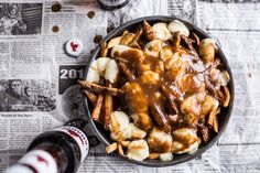 Try this Authentic Canadian Poutine recipe, or contribute your own. Canadian Poutine, Canadian Food, Canadian Cuisine, Poutine Recipe, Appetizer Recipes, Appetizers, Hangover Food, Cheese Curds, Cheese Sauce